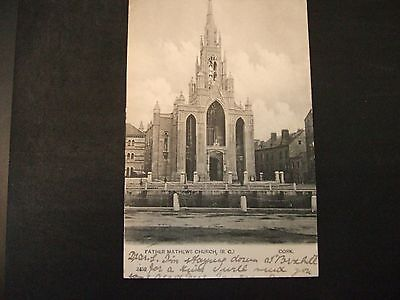 Postcard. Father Mathews Church, Cork, posted in 1905 to Bridgewater Somerset.