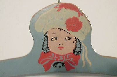 Vintage Childrens' Wood Clothes Display Hanger(s) Blue Painted Little Girl Motif