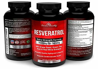 Resveratrol Supplement - 1400mg Extra Strength Formula with Grape Seed Extract