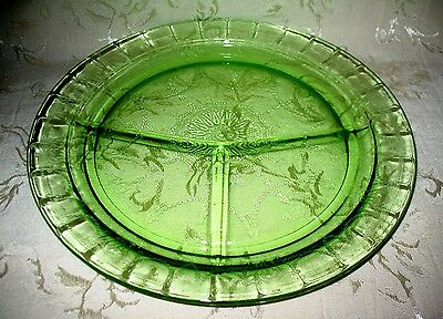 """Anchor Hocking Depression Era """"Cameo"""" pattern LARGE Green Divided Grill Plate"""