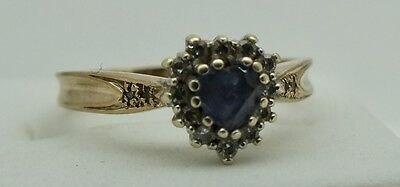 Vintage 9Ct Gold Sapphire And Diamond Ring. Size Q.