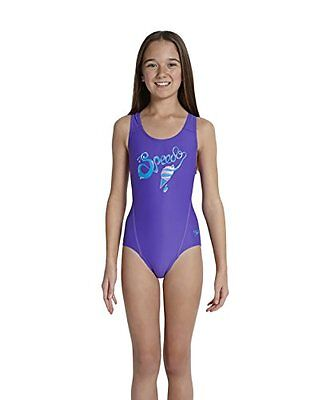 SPEEDO LOGO PLMT SPBK JF COSTUME BAMBINA MULTICOLORE (PURPLE/BLUE) 30 Nuovo