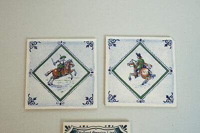 Dutch Polychrome Hand Painted Tiles Man on Horse Holland America Set of 3