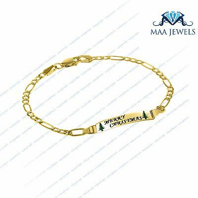 "10K Yellow Gold Fn 5"" Engraved Personalised Baby Figaro Link I.D. Bracelet"