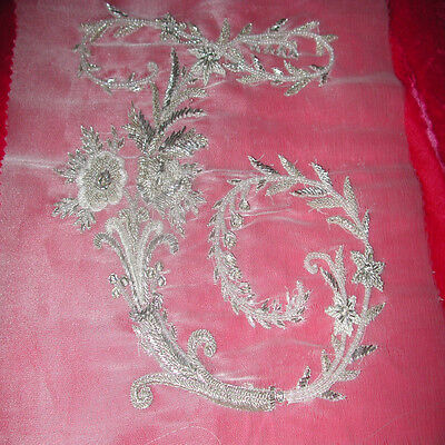 """French Design of Couture Hand Embroidered MONOGRAM """"C"""" Completely Beaded"""