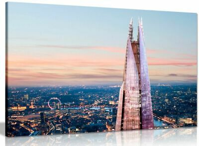 London Skyline Sunset And The Shard Canvas Wall Art Picture Print