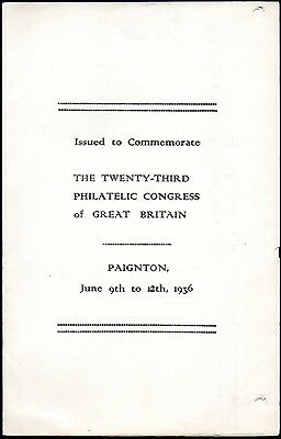 1936 Paignton 23rd Philatelic Congress Souvenir Inc Marginal Block Nine Stamps