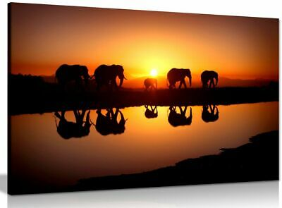 African Sunset Elephants Nature Wildlife Canvas Wall Art Picture Print