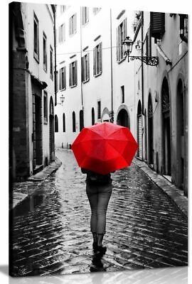 Woman With Red Umbrella Black & White Canvas Wall Art Picture Print