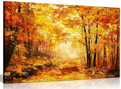 Abstract Oil Painting Colourful Orange Yellow Autumn Forest Leaves Canvas Print