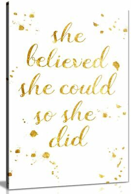 She Believed She Could So She Did Quote Inspirational Canvas Picture Print