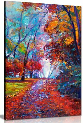 Abstract Contemporary Painting Autumn Forest Canvas Wall Art Picture Print