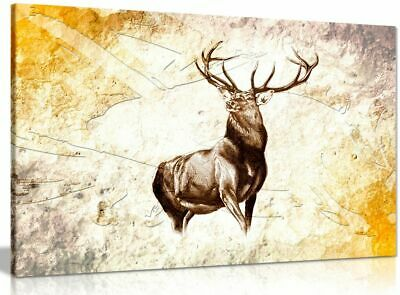Stag Art Rustic Background Canvas Wall Art Picture Print