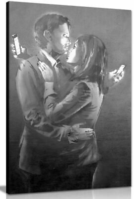 Banksy Mobile Phone Lovers Black & White Canvas Wall Art Picture Print
