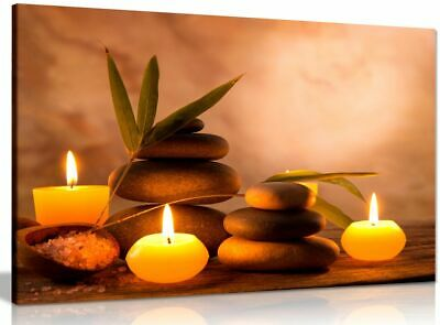 Aromatic Candles & Zen Stones Canvas Wall Art Picture Print