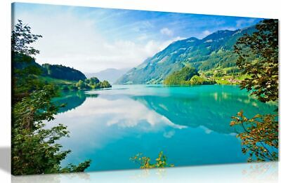 Lake Mountains And Forests Nature Canvas Wall Art Picture Print