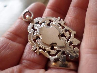 Antique Ornate Chester Hmark Sterling Silver Pocket Watch Chain Fob Medal 1897