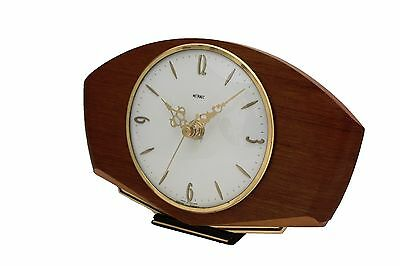 Vintage METAMEC Art Deco Wooden Mantel Desk Clock Refurbished - Keeps Ex Time