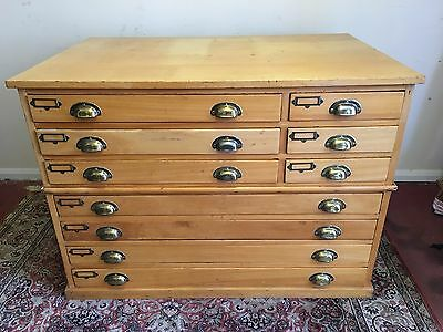 Vintage Plan Chest/architects Chest Of Drawers