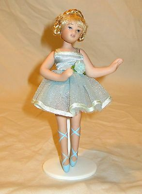 """Vintage Ballerina Porcelain Doll Jointed Poseable Braids Blue Tutu With Stand 6"""""""
