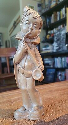"""Hand carved wood figurine playing Saxophone 6"""" tall FREE SHIPPING"""