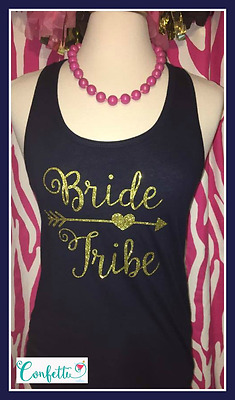 NEW size Small navy Bride tribe tank top racerback bride tribe navy and gold