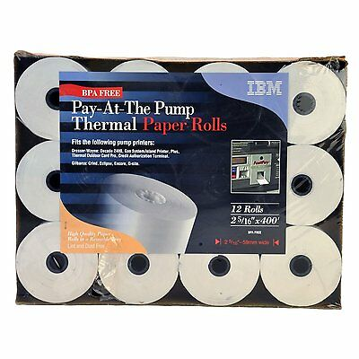 "IBM Pay-At-The Pump 2-5/16"" x 400' Receipt Thermal Printer Paper Rolls - 12 ct."
