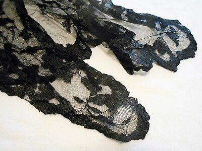 Vintage 1940s BLACK MANTILLA VEIL Scarf Shawl LACE NETTING Millinery Steampunk