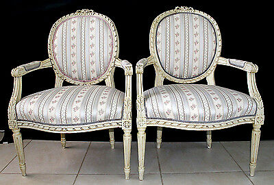 Gorgeous Pair Louis Xvi French Ribbon Back Chair Antique Ornate Carved Wood Chic