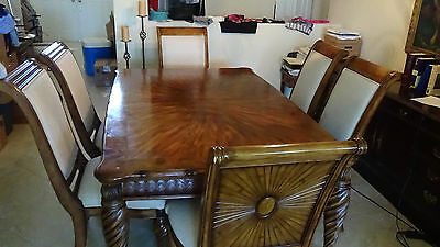 Dining Table Set 6 Upholstered Chairs Designer Quality solid Hardwoods
