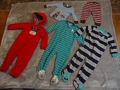 Lot of 4 2T & 24 monthS Carter's Gymboree fleece footed sleeper pajamas striped