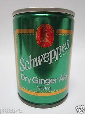 RARE SCHWEPPES DRY GINGER ALE EMPTY 250ml STEEL CAN 1984 MELBOURNE AUSTRALIA OLD