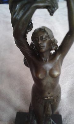 Bronze Art Deco Style  Of Semi Clad Lady  Hot Cast G/Condition see photo's
