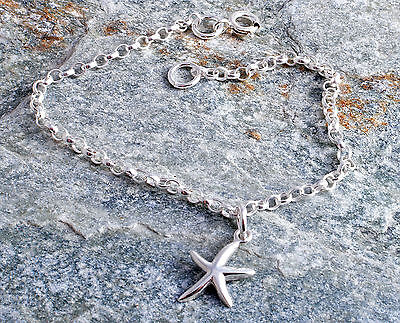 Sterling Silver Starfish Charm Ankle Chain Bracelet Anklet 925
