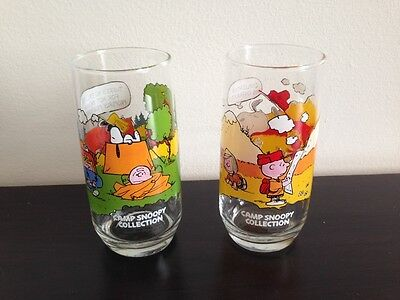 Lot of 2 Vintage Schulz Peanuts Charlie Brown Camp Snoopy Glasses McDonalds