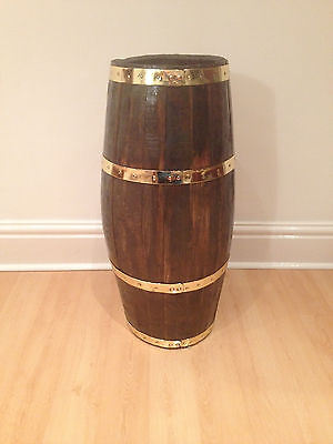 umbrella stand      oak with brass bands