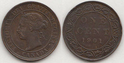 1901 Canadian Copper Large Cent Coin Canada One Cent Extra Fine XF # 9