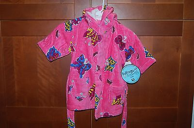 POOL BEACH BATH ROBE Pink Size S 3 Girl BUTTERFLIES NWT