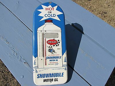 Wonderful Vintage Amalie Snowmobile Motor Oil Rare Working Thermometer Sign