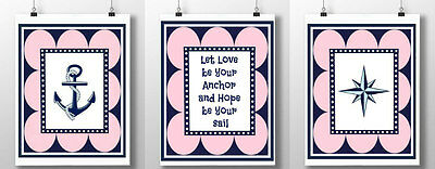 3 nautical nursery prints navy pink anchor star quote girl bedroom wall decor