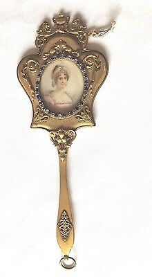 Victorian  Gold Gilded Hand Mirror With Stones Around Picture