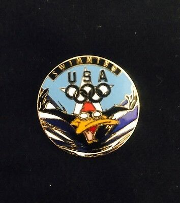 VTG Warner Bros Brothers Daffy Duck USA Olympic Swimming Lapel Pin