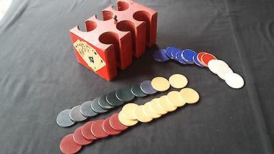 Vintage Smooth Clay (25) Clover (14) Poker Chips with Old Chip Holder (Repaired)