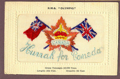 R.M.S. Olympic Hurrah for Canada Embroidered Silk Postcard