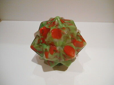 Vintage Czech Art Deco Lamp  Globe Shade End Of Day Glass Star Burst Green Red