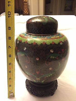 Antique Chinese Cloisonné Lidded Jar / Urn / Pot / Container
