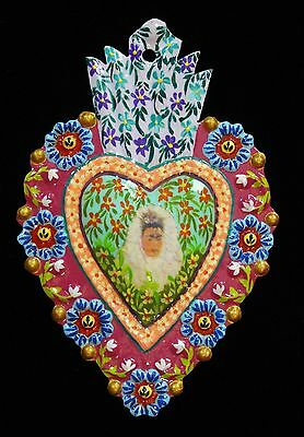 Frida Kahlo in Lace Headress Small Size Folk Art Peru Hand Painted Tin Milagro