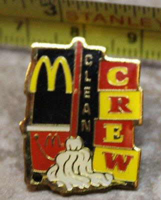 McDonalds Clean Crew Mop Collectible Pinback Pin Button