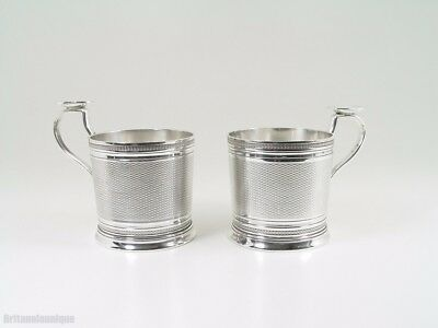 DIVINE FRENCH CHRISTOFLE GUILLOCHE PAIR of Tea / Toddy GLASS HOLDERS