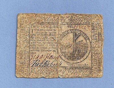 1775 $ 2 Continental Currency Colonial Note Very Fine Condition Pre-Revolution